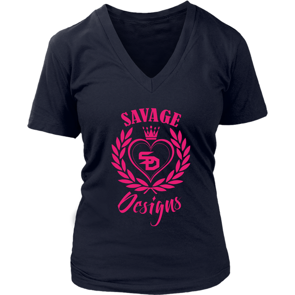 Savage Designs Heart of Hearts Hot Pink V-Neck- 9 Colors
