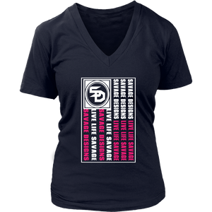 Savage Designs Flag White/Hot Pink V-Neck- 9 Colors
