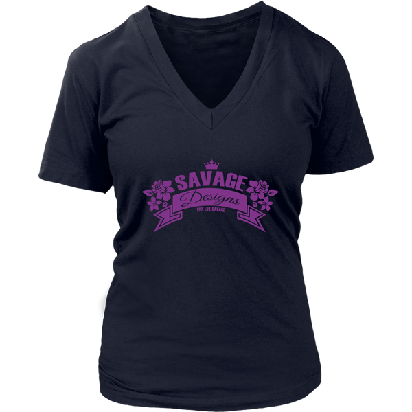 Savage Designs Royal Blossom Purple V-Neck- 6 Colors