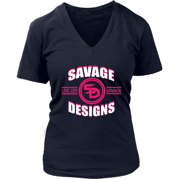 Savage Designs Dead Focus White/Hot Pink V-Neck- 10 Colors