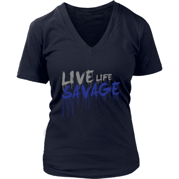 Live Life Savage Paint Drip Grey/Royal Blue V-Neck- 8 Colors
