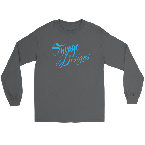 Savage Designs Cursive Script Turquoise Long Sleeve- 9 Colors
