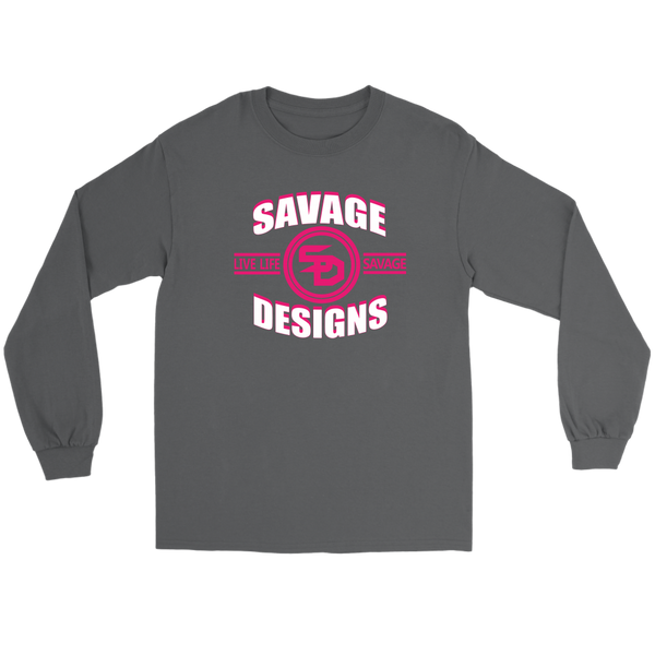 Savage Designs Dead Focus White/Hot Pink Long Sleeve- 10 Colors