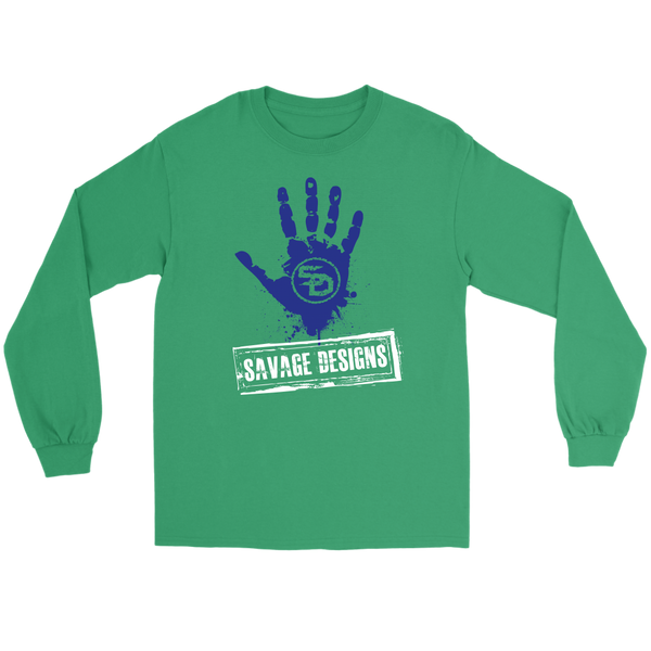 Savage Designs Handprint Stamp Royal Blue/White Long Sleeve- 7 Colors