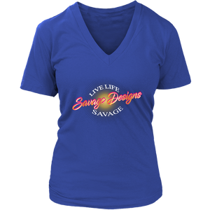 Savage Designs Sunray Flare Hot Pink and Gold V-Neck- 6 Colors