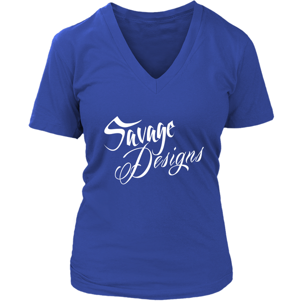 Savage Designs Cursive Script White V-Neck- 11 Colors