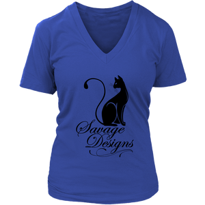 Savage Designs Lady Kitten Black V-Neck- 11 Colors