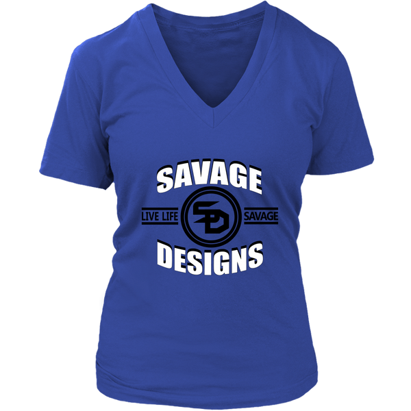 Savage Designs Dead Focus White/Black V-Neck- 12 Colors