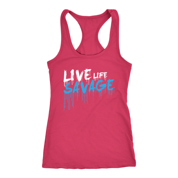 Live Life Savage Paint Drip White/Turquoise Tank Top- 8 Colors