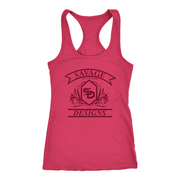 Savage Designs Diamond Floral Maroon Tank Top- 14 Colors