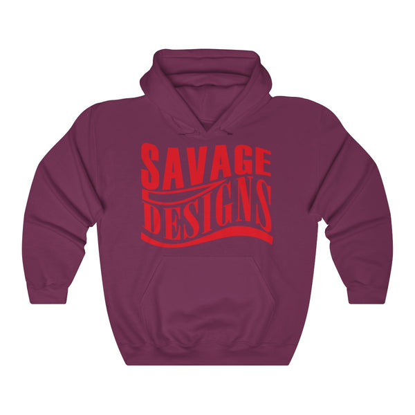 Savage Designs Warped Curve Red Hoodie- 7 Colors