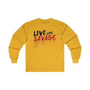 Live Life Savage Paint Drip Black/Red Long Sleeve- 1 Color