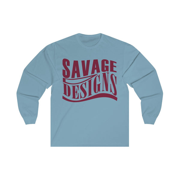 Savage Designs Warped Curve Maroon Long Sleeve- 2 Colors