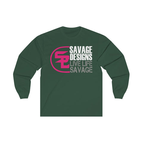 Savage Designs Sliced Up Hot Pink/White/Grey Long Sleeve- 2 Colors