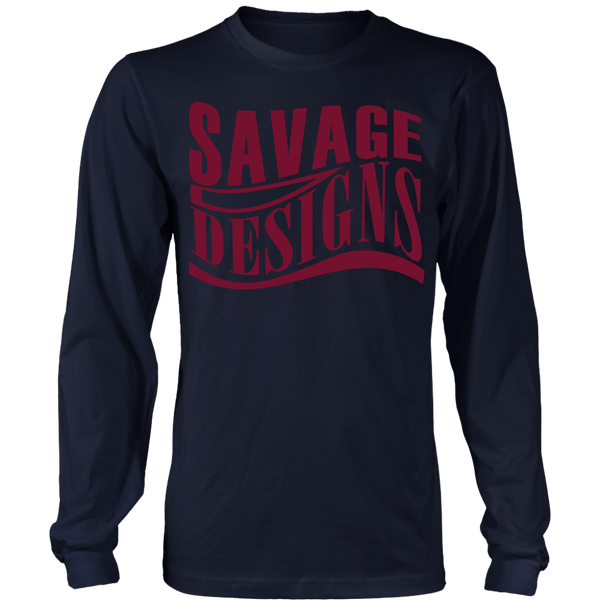 Savage Designs Warped Curve Maroon Long Sleeve- 9 Colors