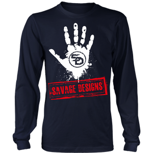 Savage Designs Handprint Stamp White/Red Long Sleeve- 6 Colors