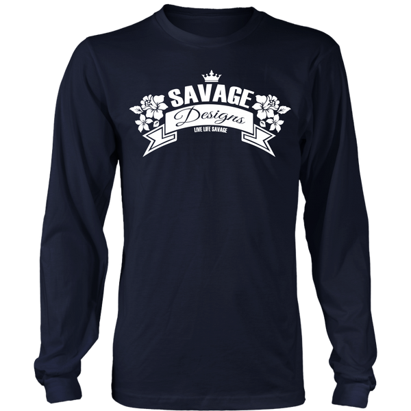 Savage Designs Royal Blossom White Long Sleeve- 9 Colors