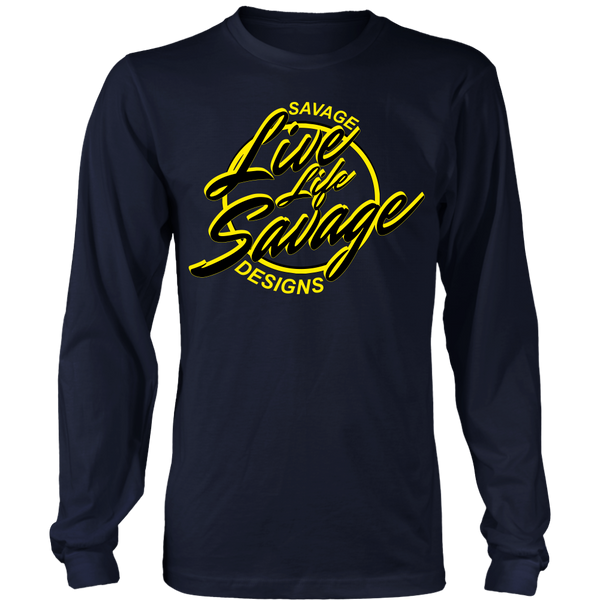 Savage Designs Live Life Savage Calligraphy Black/Yellow Long Sleeve- 9 Colors