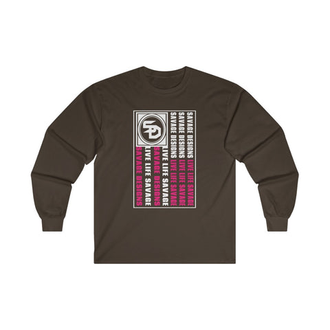 Savage Designs Flag White/Hot Pink Long Sleeve- 2 Colors