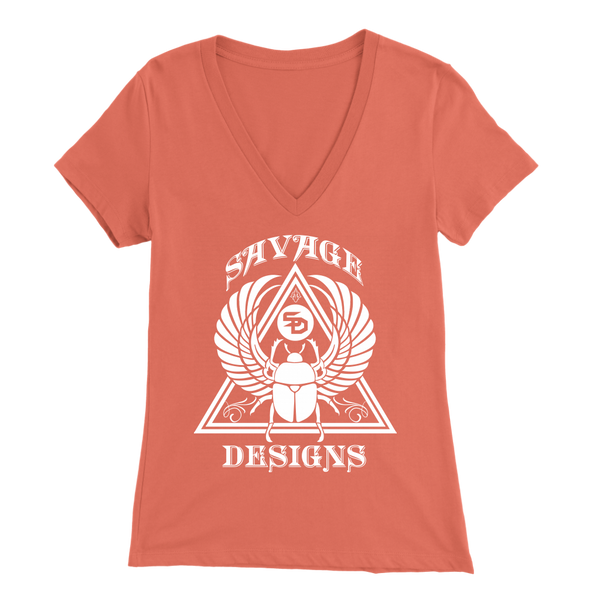 Savage Designs Eygptian Scarab Bettle White V-Neck- 11 Colors