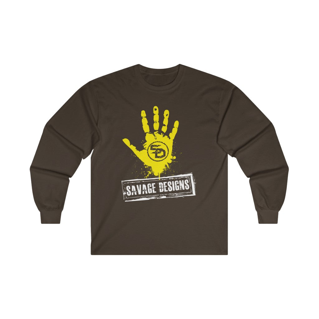 Savage Designs Handprint Stamp Yellow/White Long Sleeve- 2 Colors