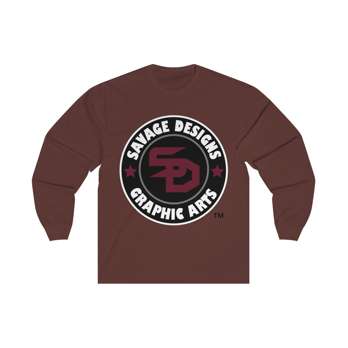 Savage Designs Symbol Patch Maroon/Black/White Long Sleeve- 1 Color