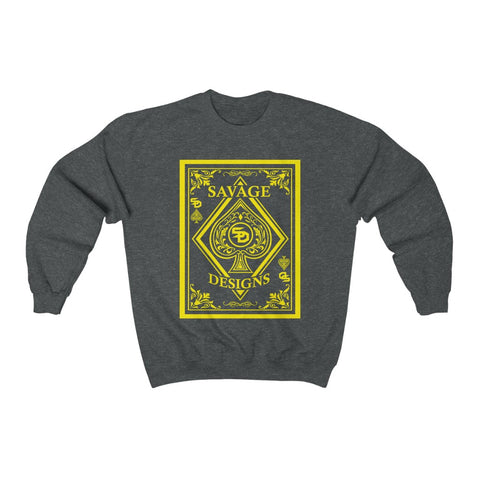 Savage Designs Ace of Spade Yellow Sweatshirt- 4 Colors