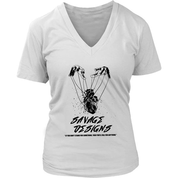 Savage Designs Heart Strings Black V-Neck- 12 Colors