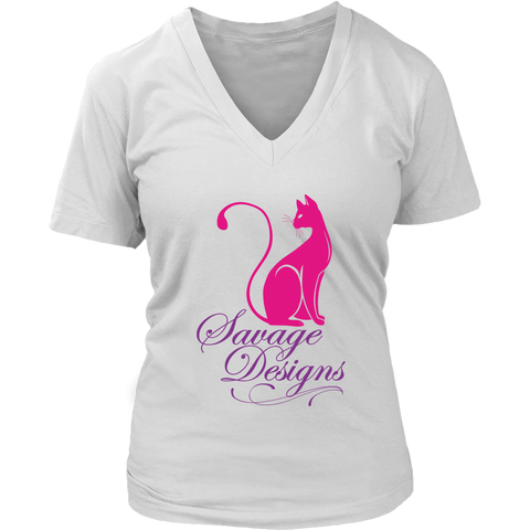 Savage Designs Lady Kitten Hot Pink/Purple V-Neck- 5 Colors