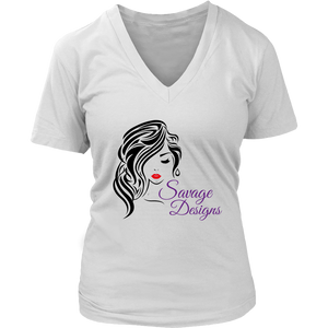 Savage Designs Women's Beauty Black/Red/Purple V-Neck- 2 Colors