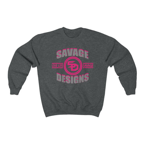 Savage Designs Dead Focus Grey/Hot Pink Sweatshirt- 3 Colors