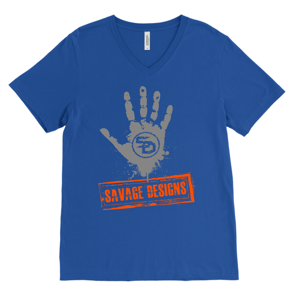 Savage Designs Handprint Stamp Grey/Orange V-Neck- 8 Colors