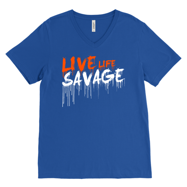 Live Life Savage Paint Drip Orange/White V-Neck- 8 Colors