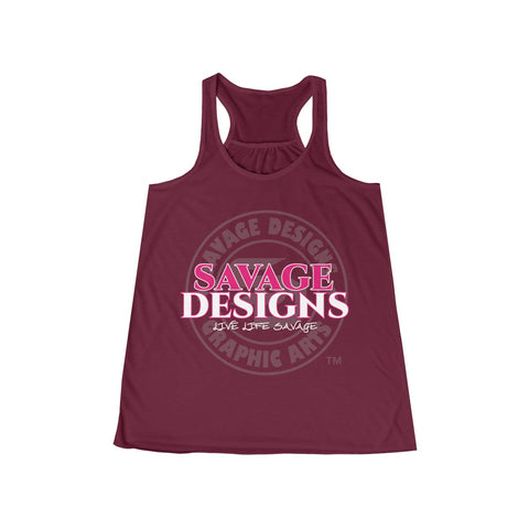 Savage Designs Faded Symbol Hot Pink/White/Grey Tank Top- 2 Colors