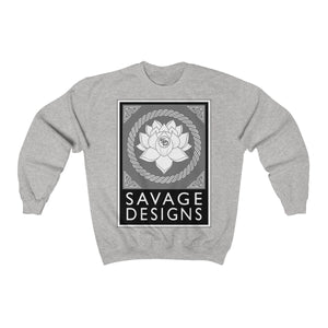 Savage Designs Lotus Flower Grey/White/Black Sweatshirt- 8 Colors
