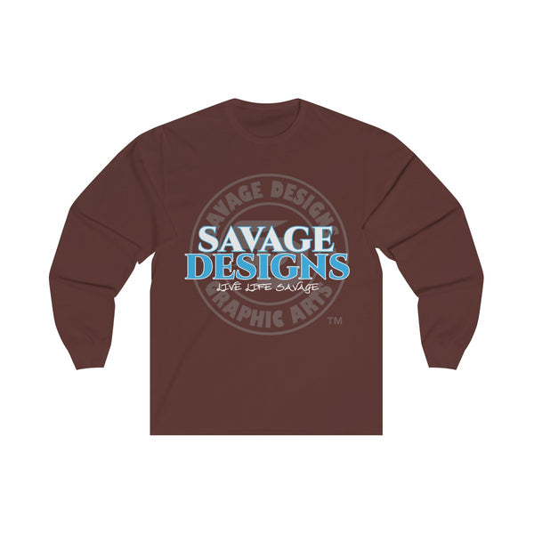 Savage Designs Faded Symbol White/Turquoise/Grey Long Sleeve- 3 Colors