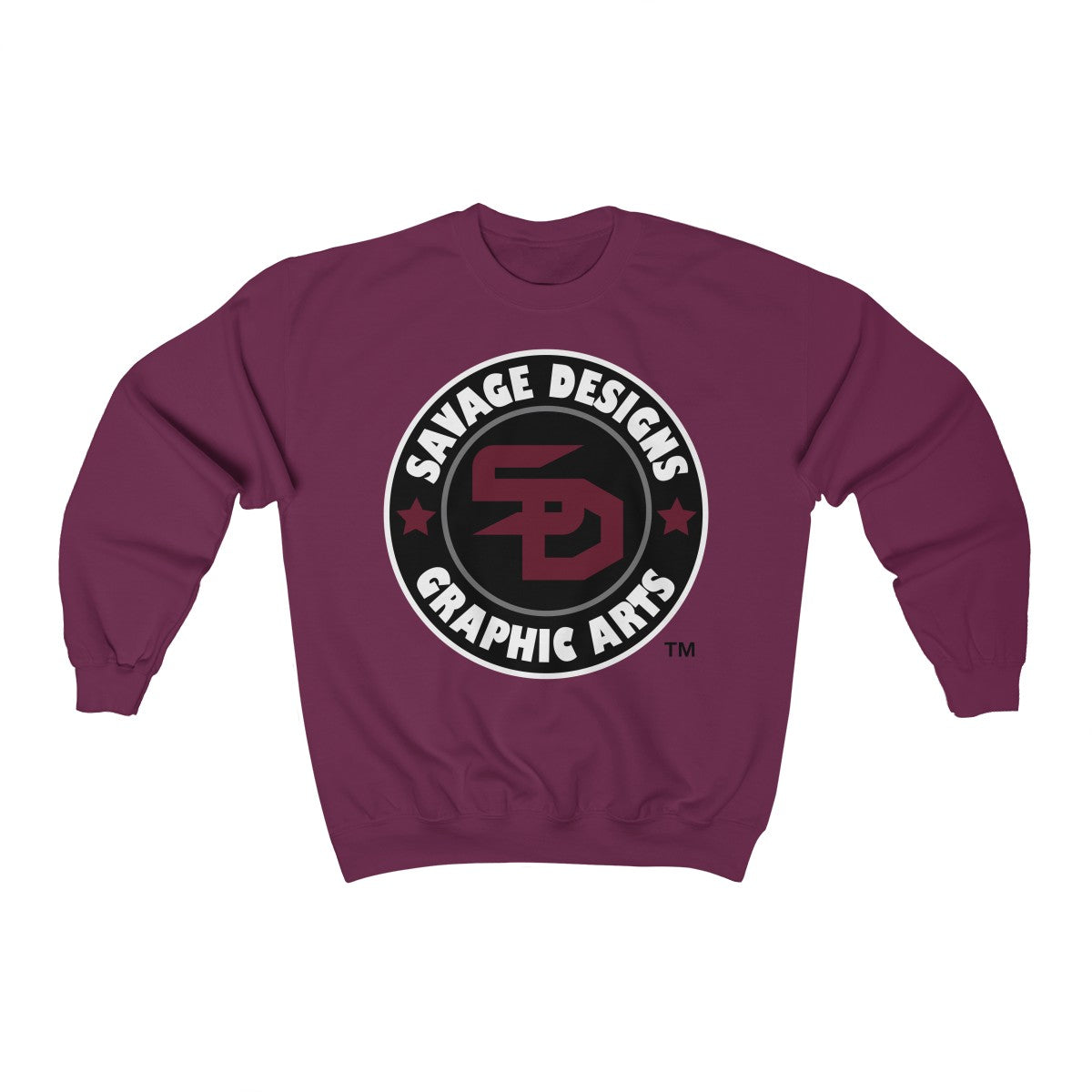 Savage Designs Symbol Patch Maroon/Black/White Sweatshirt- 3 Colors