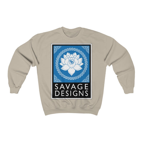 Savage Designs Lotus Flower Turquoise/White/Black Sweatshirt- 5 Colors