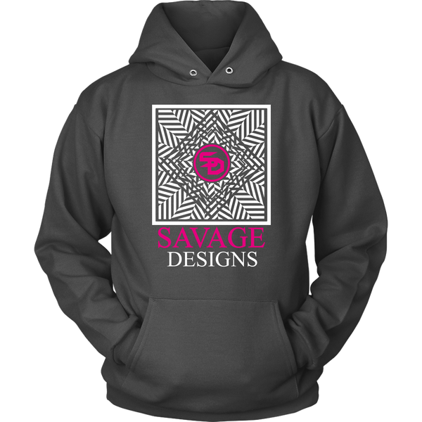 Savage Designs Optical Illusion White/Hot Pink Hoodie- 8 Colors