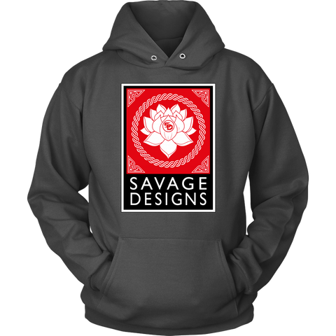 Savage Designs Lotus Flower Red/White/Black Hoodie- 6 Colors