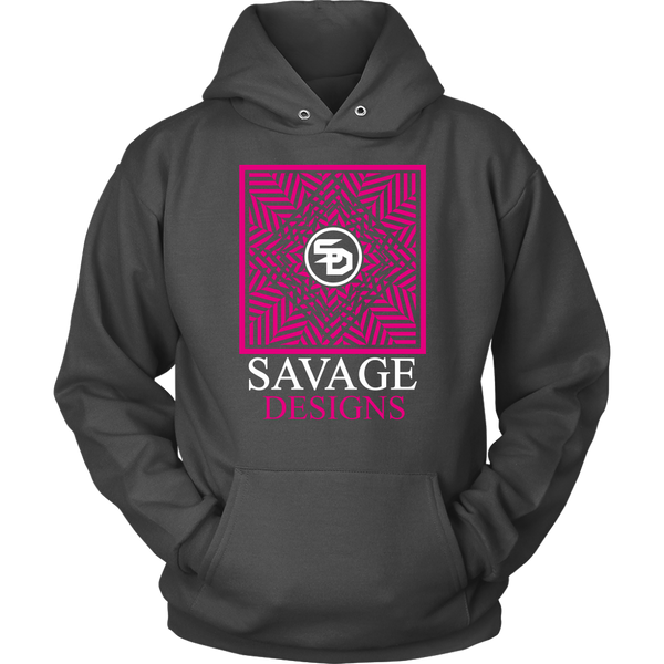 Savage Designs Optical Illusion Hot Pink/White Hoodie- 8 Colors