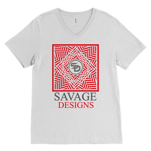 Savage Designs Optical Illusion Red/Grey V-Neck- 2 Colors