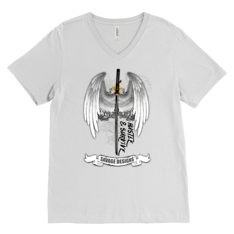 Savage Designs Sword and Angel Wings V-Neck- 1 Color