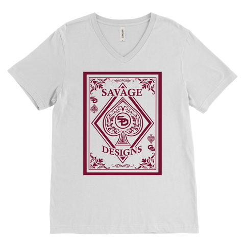Savage Designs Ace of Spade Maroon V-Neck- 7 Colors