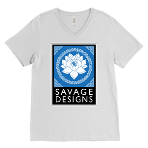 Savage Designs Lotus Flower Turquoise/White/Black V-Neck- 11 Colors