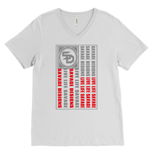 Savage Designs Flag Grey/Red V-Neck- 8 Colors