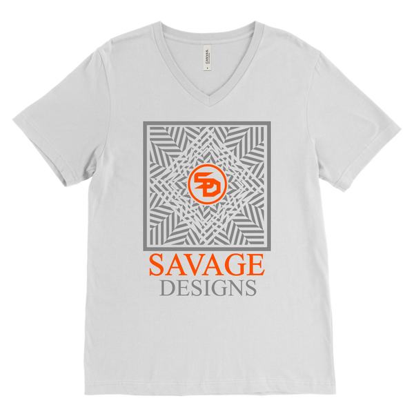 Savage Designs Optical Illusion Grey/Orange V-Neck- 8 Colors
