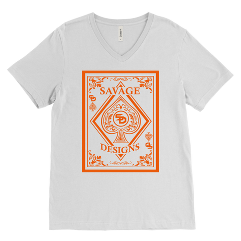 Savage Designs Ace of Spade Orange V-Neck- 9 Colors