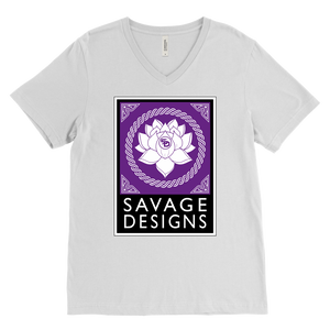 Savage Designs Lotus Flower Purple/White/Black V-Neck- 9 Colors