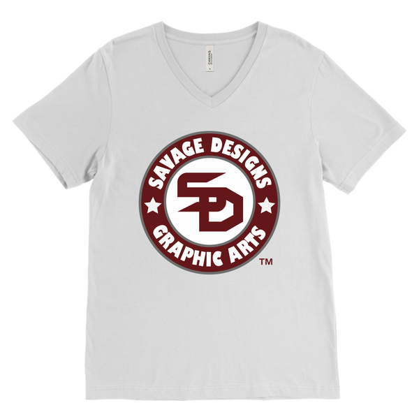 Savage Desihns Symbol Patch Burgundy/White/Grey V-Neck- 4 Colors